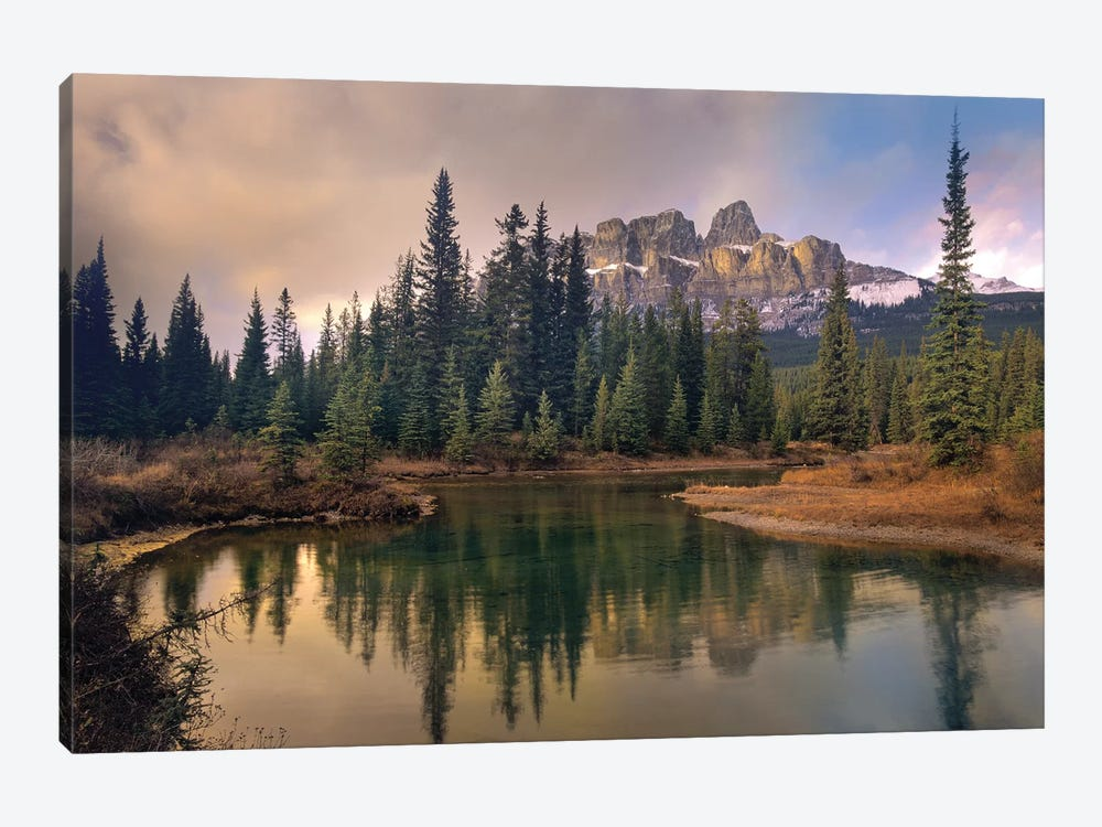 Castle Mountain And Boreal Forest Reflected In Lake, Alberta, Canada by Tim Fitzharris 1-piece Canvas Print