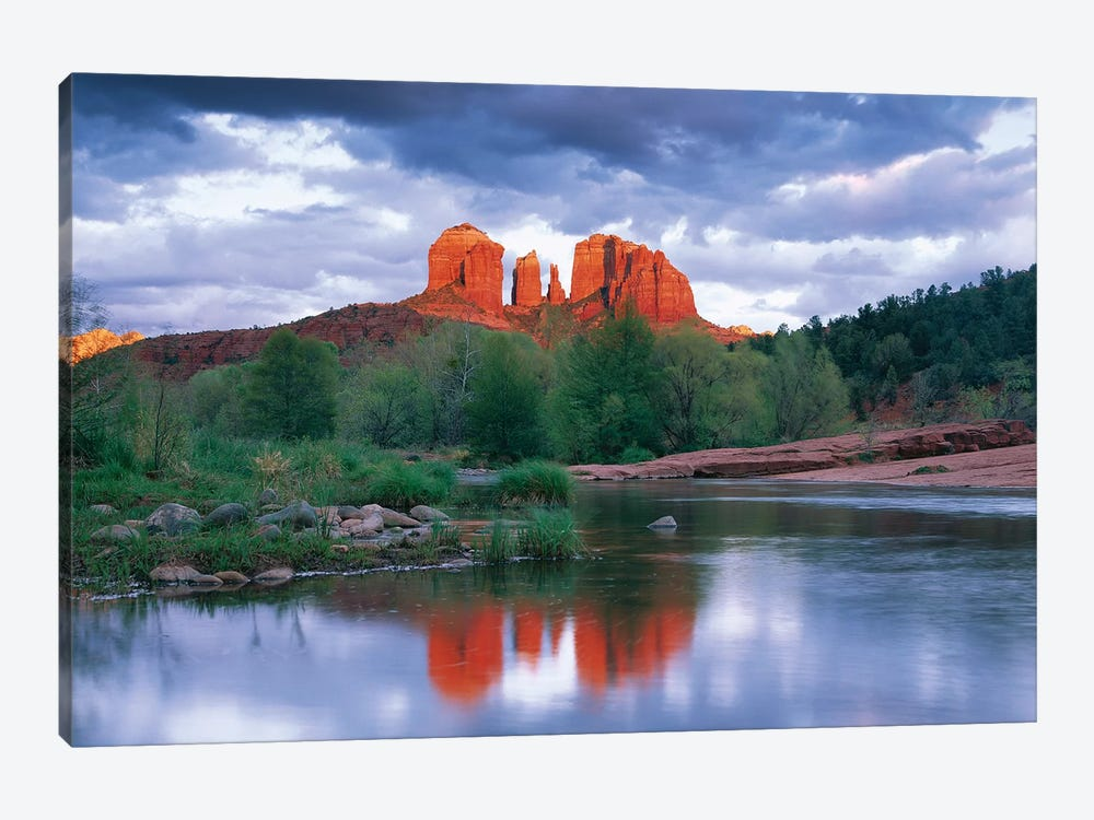 Cathedral Rock Reflected In Oak Creek At Red Rock Crossing With Gathering Rain Clouds, Red Rock State Park Near Sedona, Arizona by Tim Fitzharris 1-piece Art Print