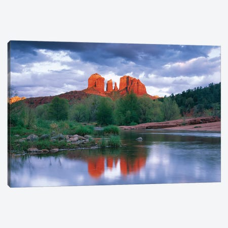 Cathedral Rock Reflected In Oak Creek At Red Rock Crossing With Gathering Rain Clouds, Red Rock State Park Near Sedona, Arizona Canvas Print #TFI199} by Tim Fitzharris Canvas Wall Art