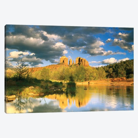 Cathedral Rock Reflected In Oak Creek At Red Rock Crossing, Red Rock State Park Near Sedona, Arizona I Canvas Print #TFI200} by Tim Fitzharris Canvas Art