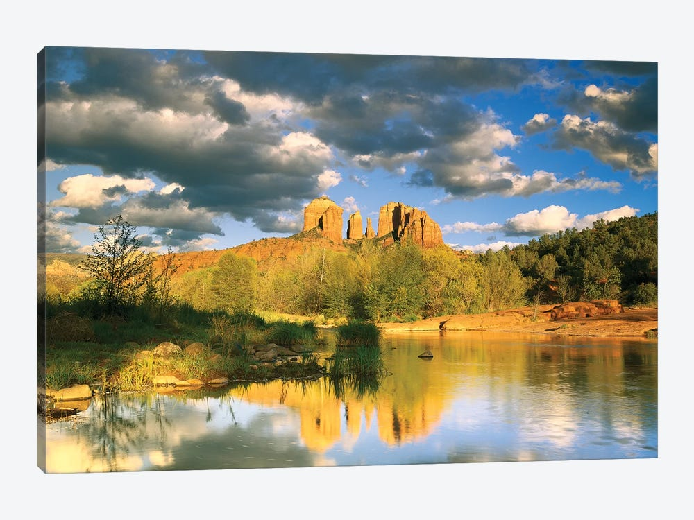 Cathedral Rock Reflected In Oak Creek At Red Rock Crossing, Red Rock State Park Near Sedona, Arizona I 1-piece Canvas Art Print