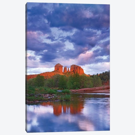 Cathedral Rock Reflected In Oak Creek At Red Rock Crossing, Red Rock State Park Near Sedona, Arizona II Canvas Print #TFI201} by Tim Fitzharris Canvas Wall Art
