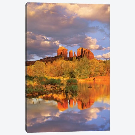 Cathedral Rock Reflected In Oak Creek At Red Rock Crossing, Red Rock State Park Near Sedona, Arizona III Canvas Print #TFI202} by Tim Fitzharris Canvas Art