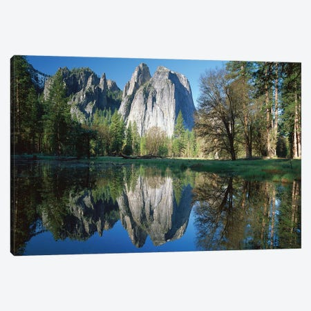 Cathedral Rock Reflected In The Merced River, Yosemite National Park, California I Canvas Print #TFI203} by Tim Fitzharris Canvas Wall Art