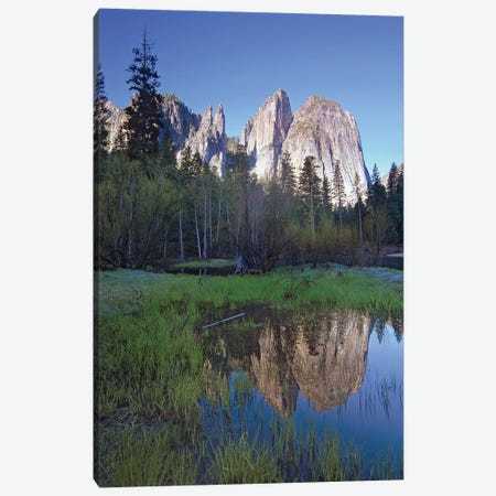 Cathedral Rock Reflected In The Merced River, Yosemite National Park, California II Canvas Print #TFI204} by Tim Fitzharris Art Print