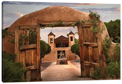 Church And Gate, El Santuario De Chimayo, New Mexico Canvas Art Print