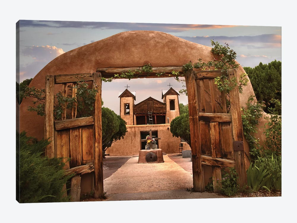 Church And Gate, El Santuario De Chimayo, New Mexico by Tim Fitzharris 1-piece Canvas Print