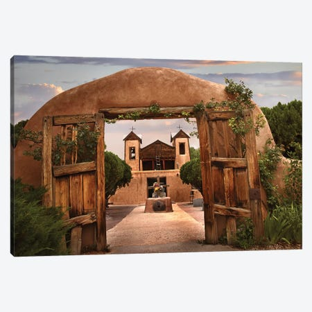 Church And Gate, El Santuario De Chimayo, New Mexico Canvas Print #TFI211} by Tim Fitzharris Art Print