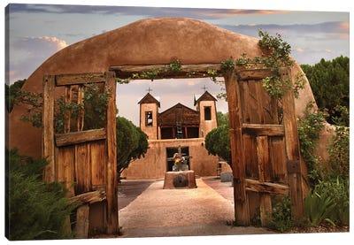 Church And Gate, El Santuario De Chimayo, New Mexico Canvas Art Print
