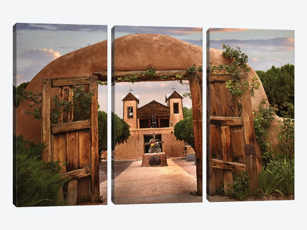 Church And Gate, El Santuario De Chimayo, New Mexico by Tim Fitzharris 3-piece Canvas Print