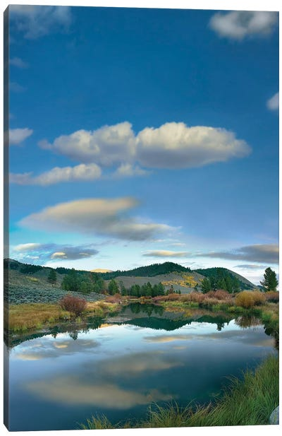Clouds Reflected In River, Salmon River Valley, Idaho Canvas Art Print
