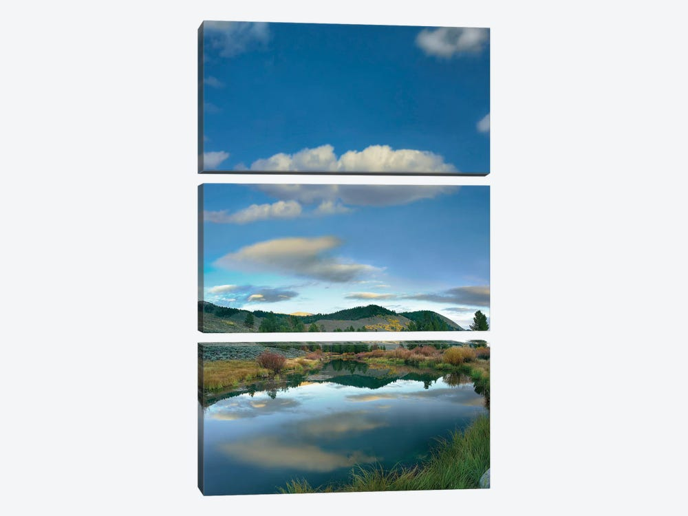 Clouds Reflected In River, Salmon River Valley, Idaho by Tim Fitzharris 3-piece Canvas Artwork