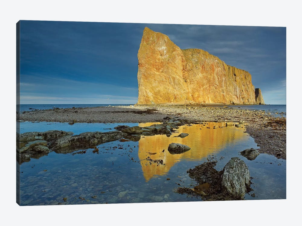 Coastline And Perce Rock, A Limestone Formation, Quebec, Canada by Tim Fitzharris 1-piece Canvas Wall Art