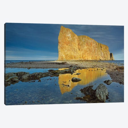Coastline And Perce Rock, A Limestone Formation, Quebec, Canada Canvas Print #TFI234} by Tim Fitzharris Canvas Wall Art