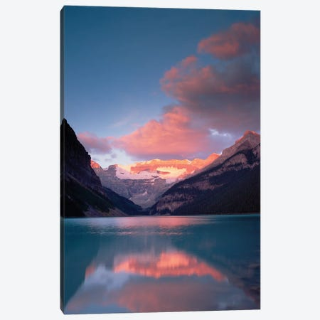 Alpenglow, Lake Louise And Victoria Glacier, Banff National Park, Alberta, Canada 3-Piece Canvas #TFI24} by Tim Fitzharris Canvas Art Print