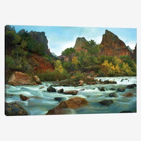 Court Of The Patriarchs Rising Above River, Zion National Park, Utah Canvas Print #TFI275} by Tim Fitzharris Canvas Art