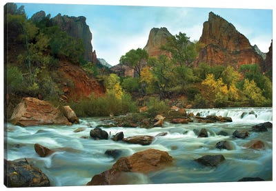 Court Of The Patriarchs Rising Above River, Zion National Park, Utah Canvas Art Print