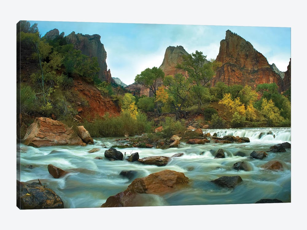 Court Of The Patriarchs Rising Above River, Zion National Park, Utah by Tim Fitzharris 1-piece Canvas Print