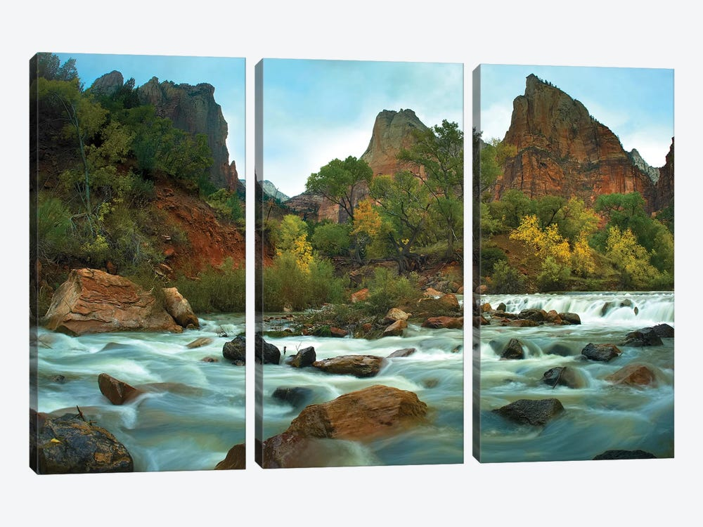 Court Of The Patriarchs Rising Above River, Zion National Park, Utah by Tim Fitzharris 3-piece Canvas Print