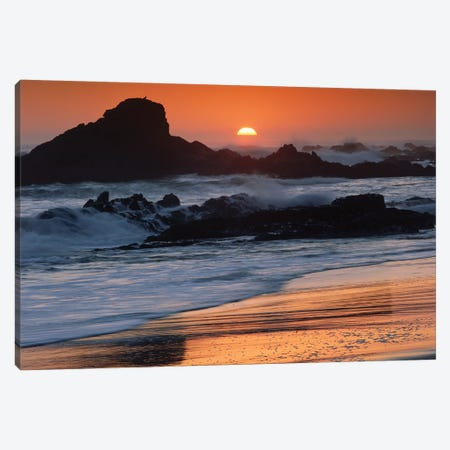 Crashing Surf On Rocks At Sunset, Point Piedras Blancas, California Canvas Print #TFI279} by Tim Fitzharris Canvas Print