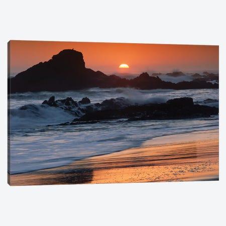 Crashing Surf On Rocks At Sunset, Point Piedras Blancas, California Canvas Print #TFI279} by Tim Fitzharris Canvas Print