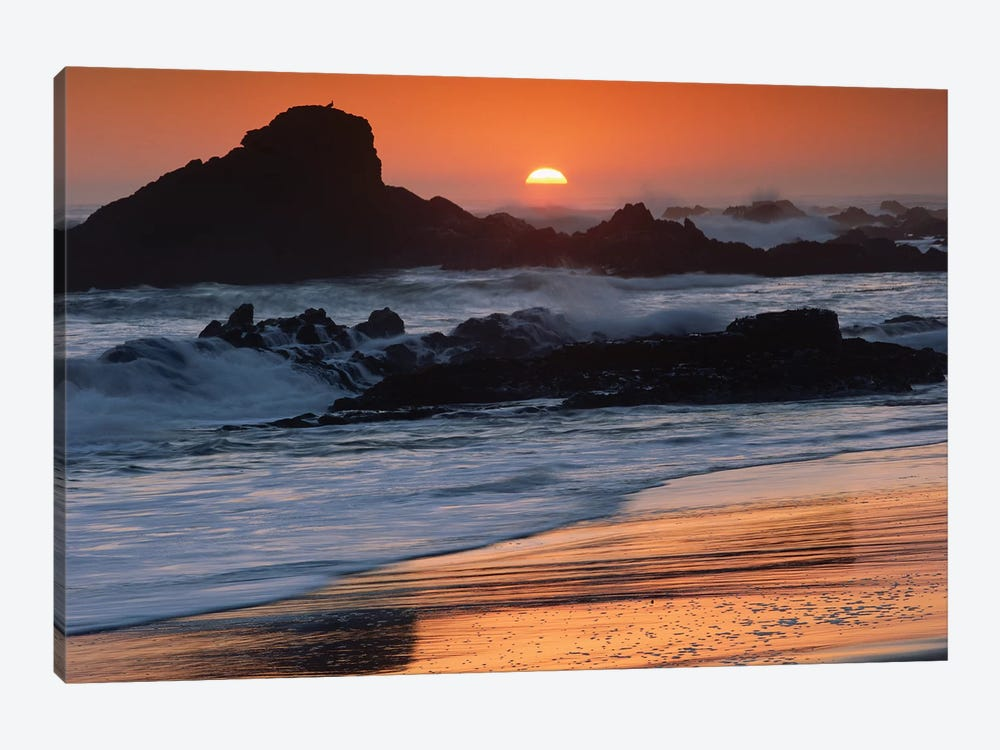 Crashing Surf On Rocks At Sunset, Point Piedras Blancas, California by Tim Fitzharris 1-piece Canvas Art Print