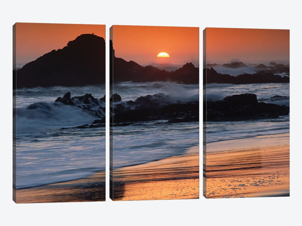 Crashing Surf On Rocks At Sunset, Point Piedras Blancas, California by Tim Fitzharris 3-piece Canvas Art Print