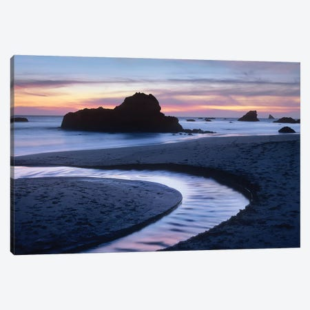 Creek Flowing Into Ocean At Harris Beach State Park, Oregon II Canvas Print #TFI282} by Tim Fitzharris Canvas Art