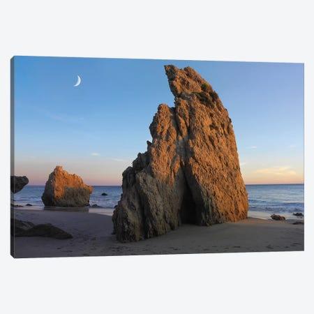Crescent Moon Over El Matador Beach, Malibu, California Canvas Print #TFI284} by Tim Fitzharris Art Print