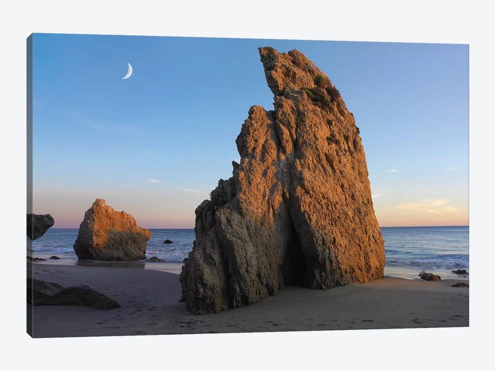 Crescent Moon Over El Matador Beach, Malibu, California by Tim Fitzharris 1-piece Canvas Print