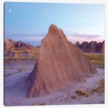 Crescent Moon Over Landscape Showing Erosional Features, Badlands National Park, South Dakota Canvas Print #TFI285} by Tim Fitzharris Canvas Print