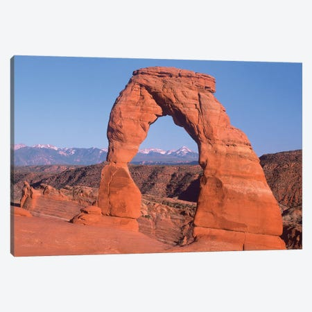 Delicate Arch And La Sal Mountains, Arches National Park, Utah I Canvas Print #TFI297} by Tim Fitzharris Canvas Artwork