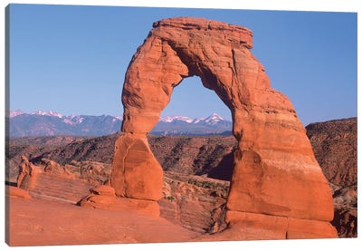 Delicate Arch And La Sal Mountains, Arches National Park, Utah I Canvas Art Print