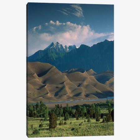 750' Sand Dunes Rise Against The Sangre De Cristo Mountains, Great Sand Dunes National Monument, Colorado Canvas Print #TFI2} by Tim Fitzharris Canvas Art