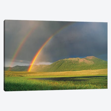 Double Rainbow Over Boulder Mountains After A Storm, Idaho Canvas Print #TFI312} by Tim Fitzharris Canvas Art