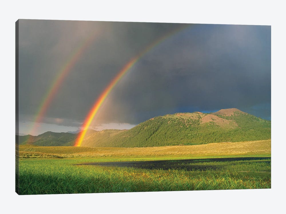 Double Rainbow Over Boulder Mountains After A Storm, Idaho by Tim Fitzharris 1-piece Canvas Art Print