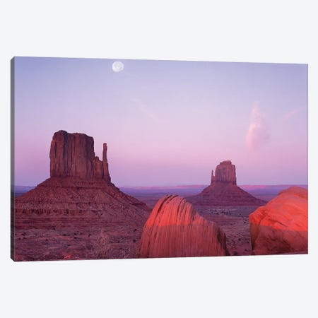 East And West Mittens, Buttes At Sunrise With Full Moon, Monument Valley, Arizona Canvas Print #TFI322} by Tim Fitzharris Art Print