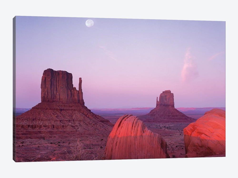 East And West Mittens, Buttes At Sunrise With Full Moon, Monument Valley, Arizona by Tim Fitzharris 1-piece Canvas Artwork
