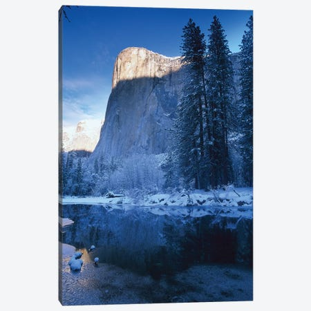 El Capitan And Merced River In Winter, Yosemite National Park, California Canvas Print #TFI333} by Tim Fitzharris Canvas Artwork