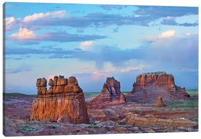 Eroded Buttes In Desert, Bryce Canyon National Park, Utah Canvas Art Print