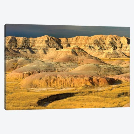 Eroded Buttes Showing Layers Of Sedimentary Rock, Badlands National Park, South Dakota Canvas Print #TFI350} by Tim Fitzharris Canvas Wall Art