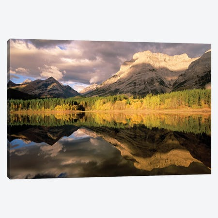 Fortress Mountain And Mt Kidd At Wedge Pond, Kananaskis Country, Alberta, Canada Canvas Print #TFI372} by Tim Fitzharris Canvas Art