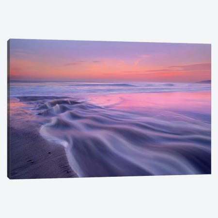 Fresh Water Stream Flowing Into The Pacific Ocean, Zuma Beach, Malibu, California 3-Piece Canvas #TFI379} by Tim Fitzharris Canvas Art
