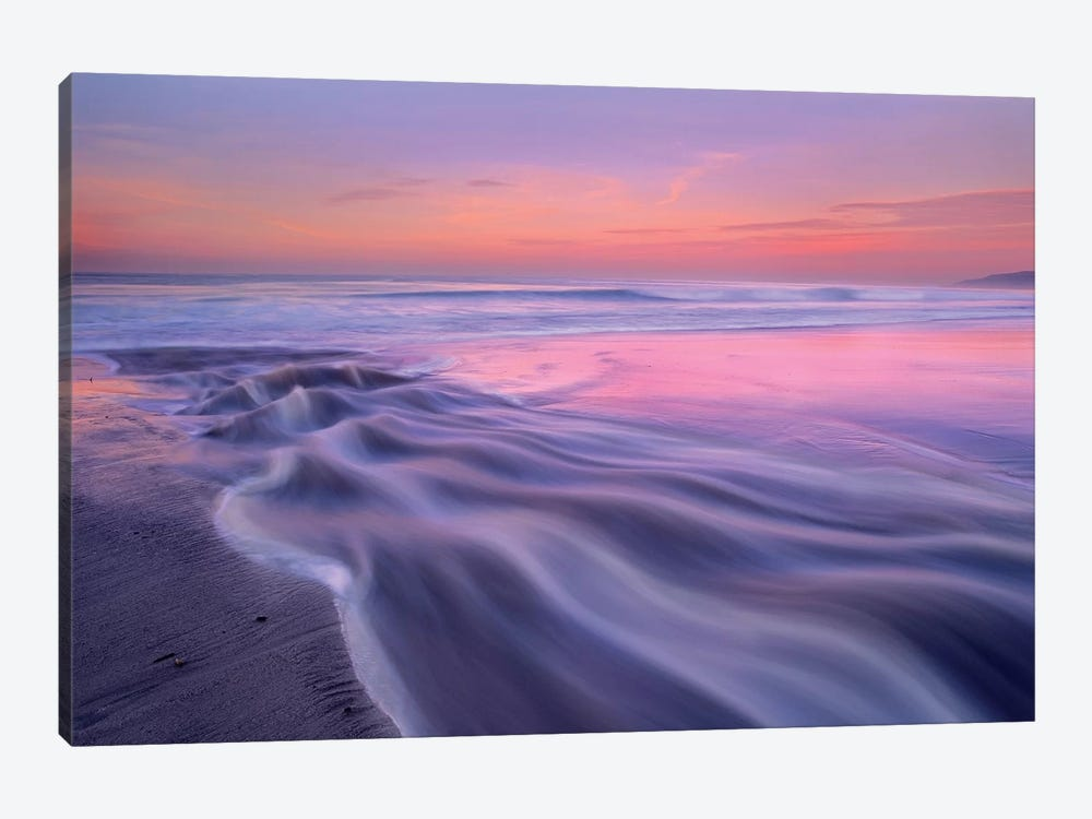 Fresh Water Stream Flowing Into The Pacific Ocean, Zuma Beach, Malibu, California by Tim Fitzharris 1-piece Canvas Wall Art