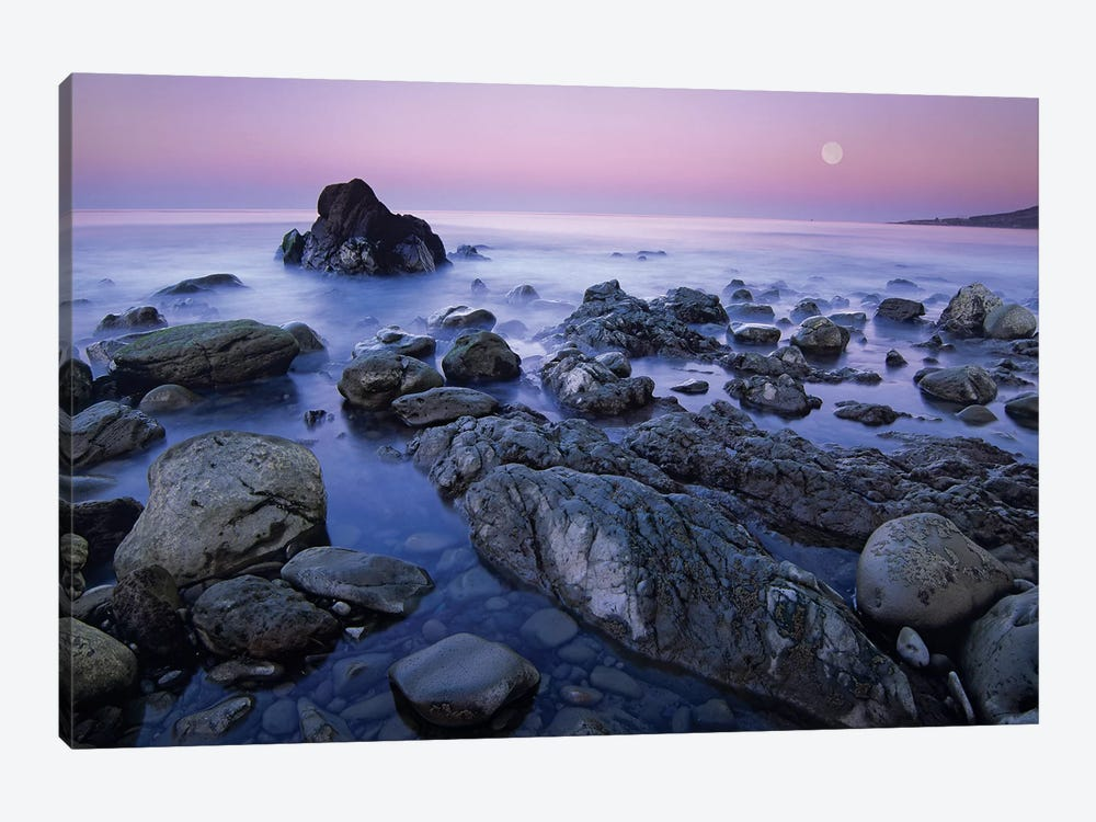 Full Moon Over Boulders At El Pescador State Beach, Malibu, California by Tim Fitzharris 1-piece Canvas Wall Art