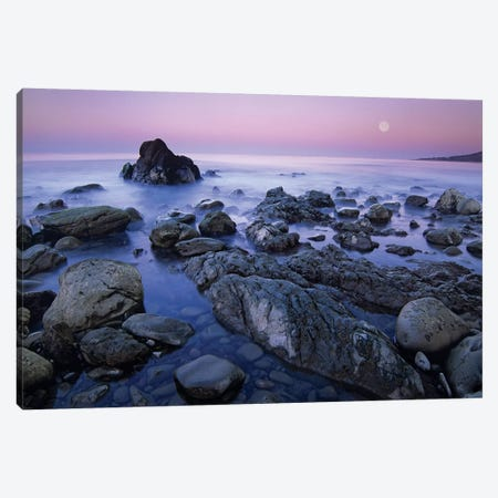 Full Moon Over Boulders At El Pescador State Beach, Malibu, California Canvas Print #TFI382} by Tim Fitzharris Canvas Print