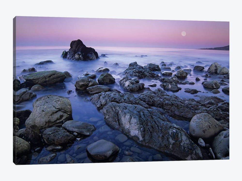 Full Moon Over Boulders At El Pescador State Beach, Malibu, California by Tim Fitzharris 1-piece Canvas Wall Art