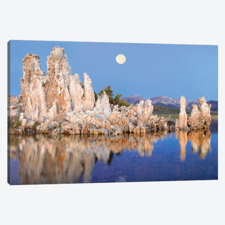 Full Moon Over  Eroded Tufa Towers In Mono Lake With The Eastern Sierra Nevada Mountains In The Background, California Canvas Print #TFI384} by Tim Fitzharris Canvas Art