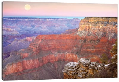 Full Moon Over The Grand Canyon At Sunset As Seen From Pima Point, Grand Canyon National Park, Arizona Canvas Art Print