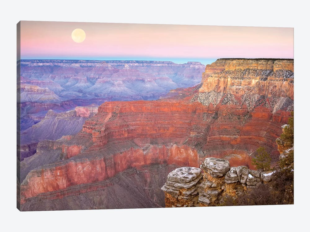 Full Moon Over The Grand Canyon At Sunset As Seen From Pima Point, Grand Canyon National Park, Arizona by Tim Fitzharris 1-piece Canvas Art Print